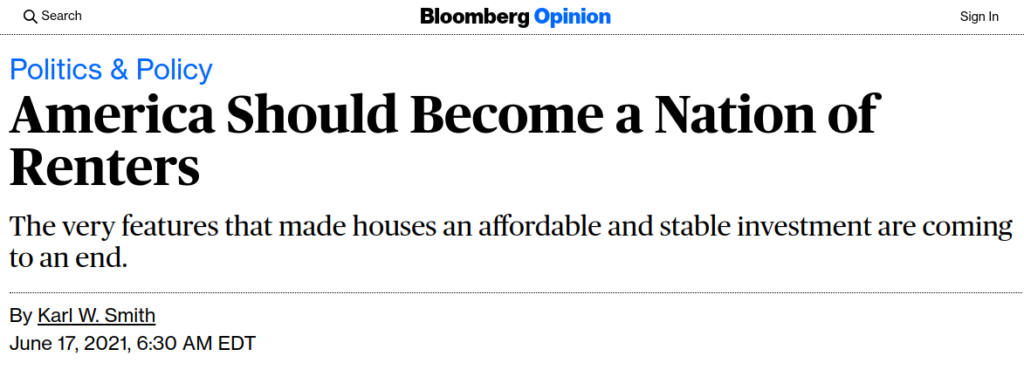 America Should Become a Nation of Renters
